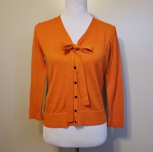 LOFT Ann Taylor   orange bow front cardigan